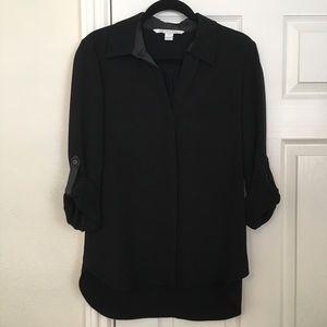 Diane Von Furstenberg DVF silk black button up top